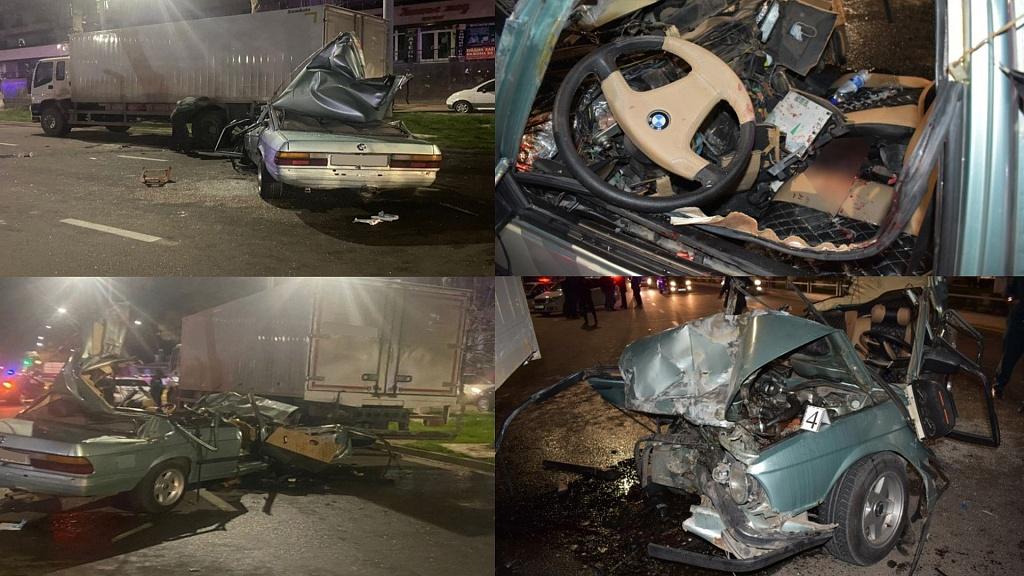 BMW врезался в грузовик, стоявший на обочине дороги в Ташкенте. Два человека погибли